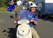 Koala with Guy going for a ride into town