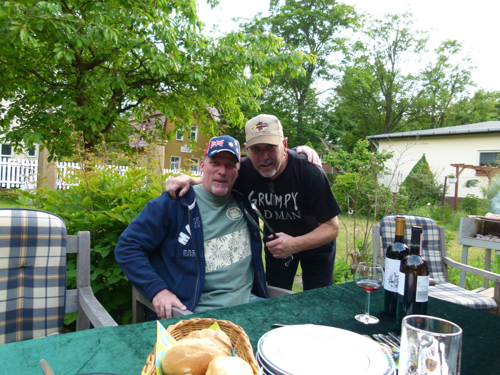 Jurg and big Mick at a barbeque in Berlin