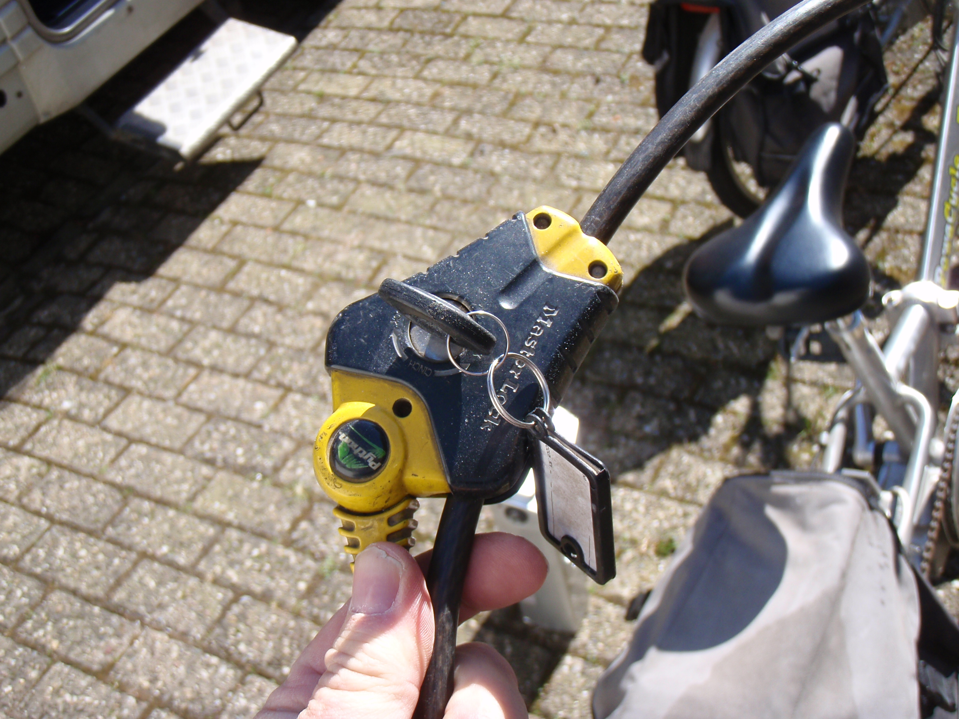 Our snake lock keeps them safe when they are on the motorhome and when they are parked