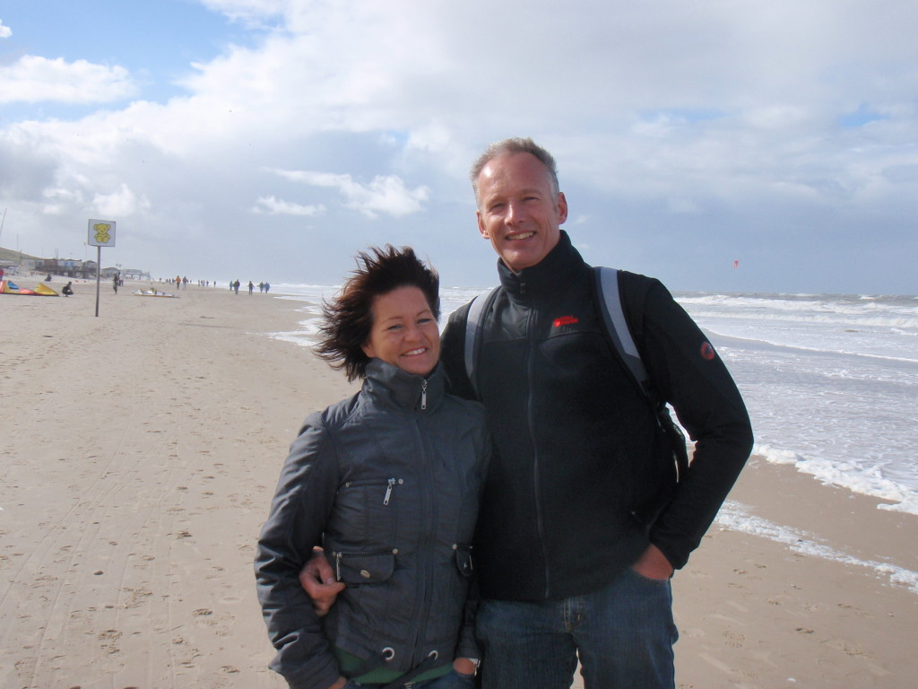 At the beach in north Holland. Gaby and Renko