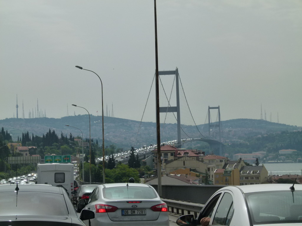 The crazy traffic as we left Istanbul. It took awhile before we reached the other side.