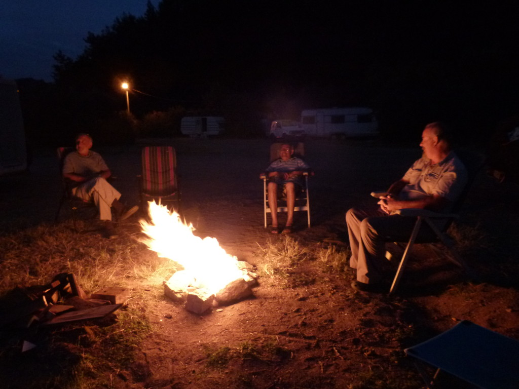 Clyde and Ewout with ali in the middle at our evening fires.