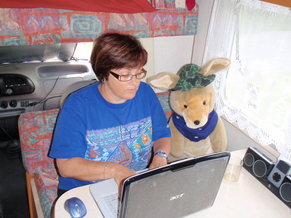 Jenny and Skip surfing the internet.
