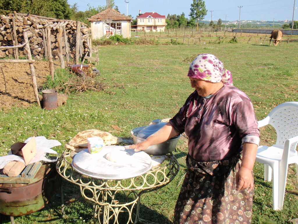 Outdoor bread making.