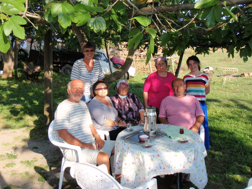 Clyde. Anna, Jenny and our hospitable Turkish family near Sinop.
