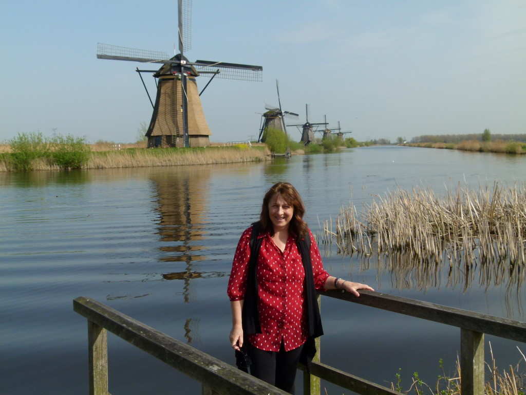 Lori at the Kinderdijk.