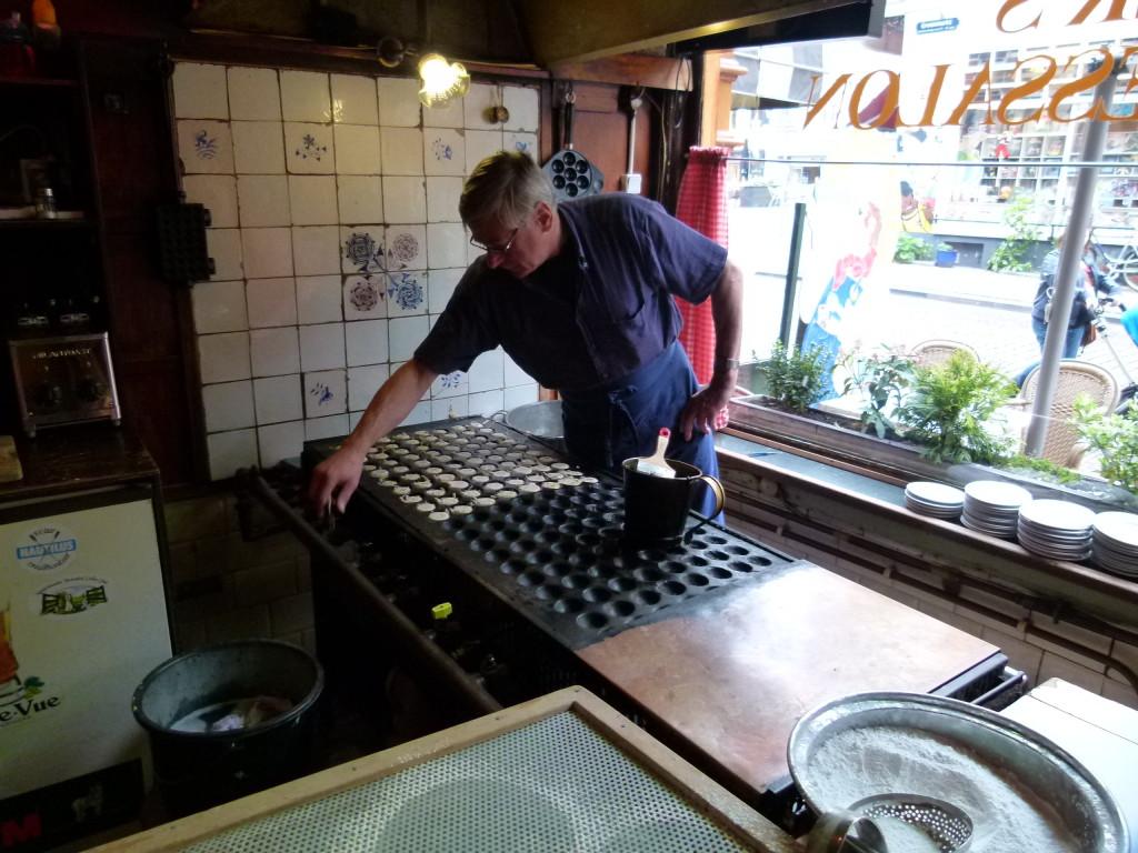 Cooking poffertijes at Vissers