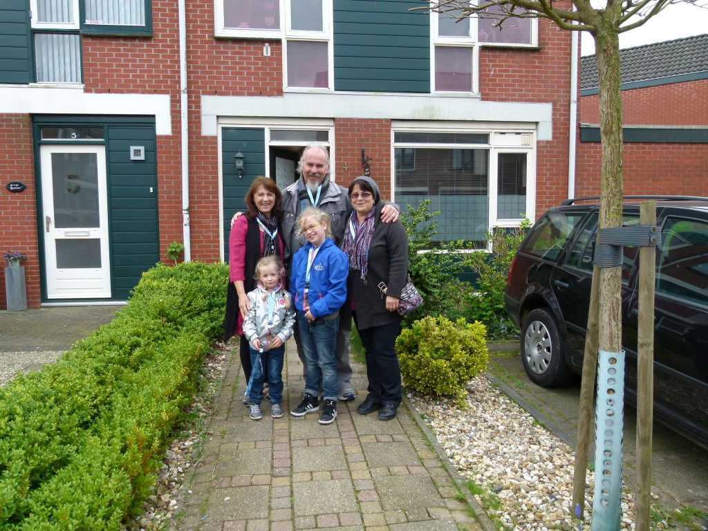 Outside Trudi's home, with the girls.