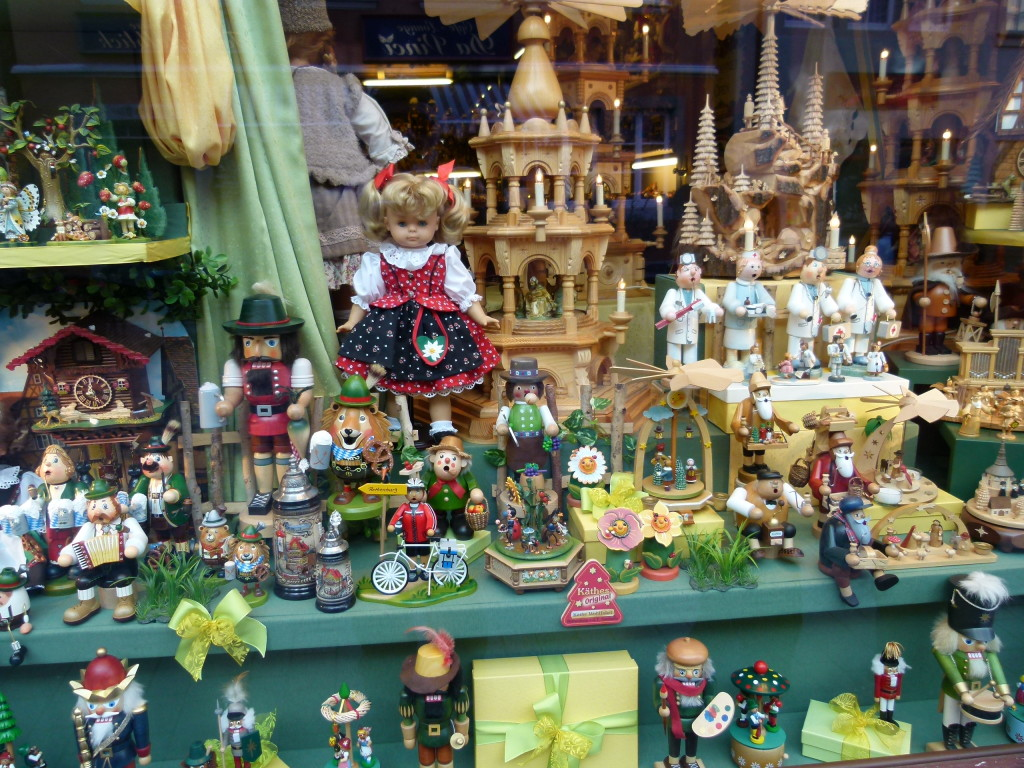 Shop window, interesting wooden toys.