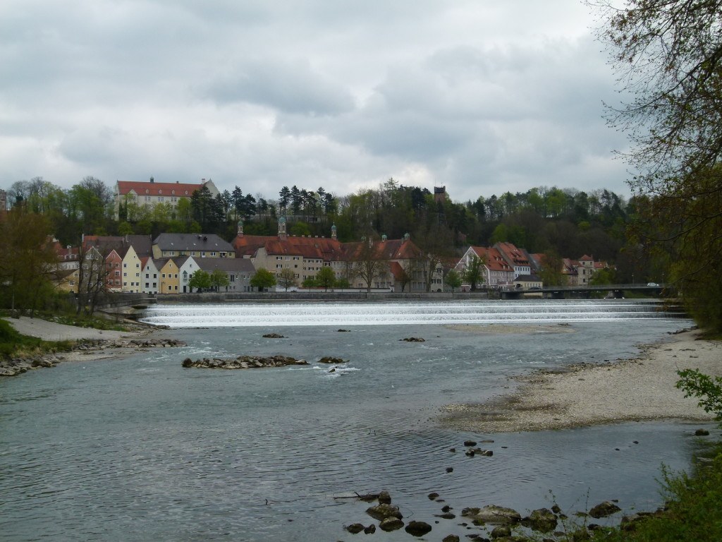 Looking across the river Lech to the town of Landsberg.