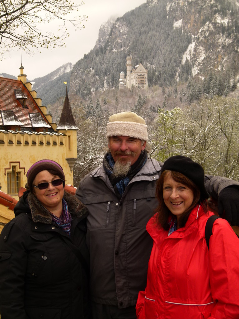 While we were waiting to enter the first castle. The Neuschwanstein castle is in the background.