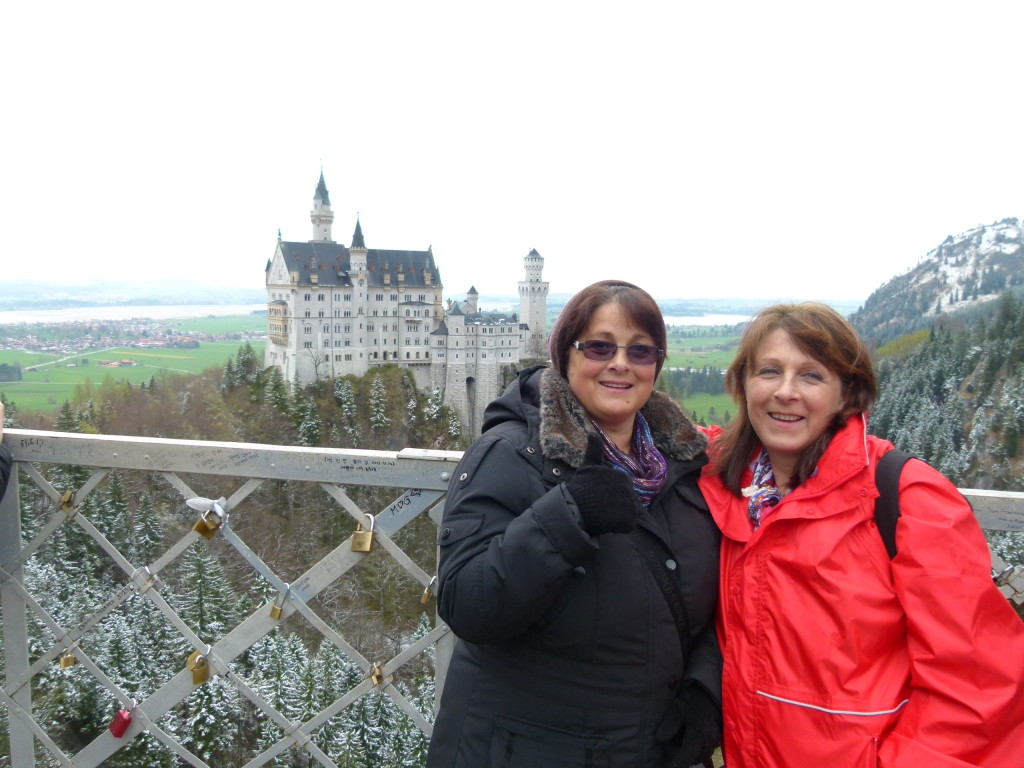 Jenny and Lori on the bridge with the castle in the background.