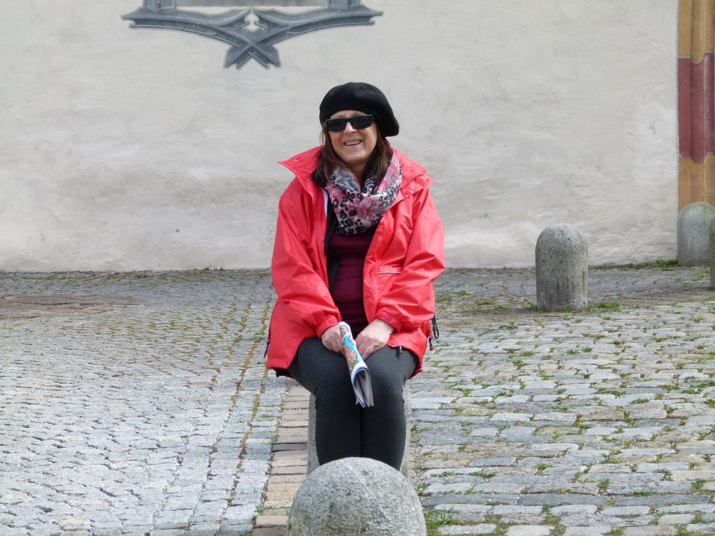 Lori in the courtyard.