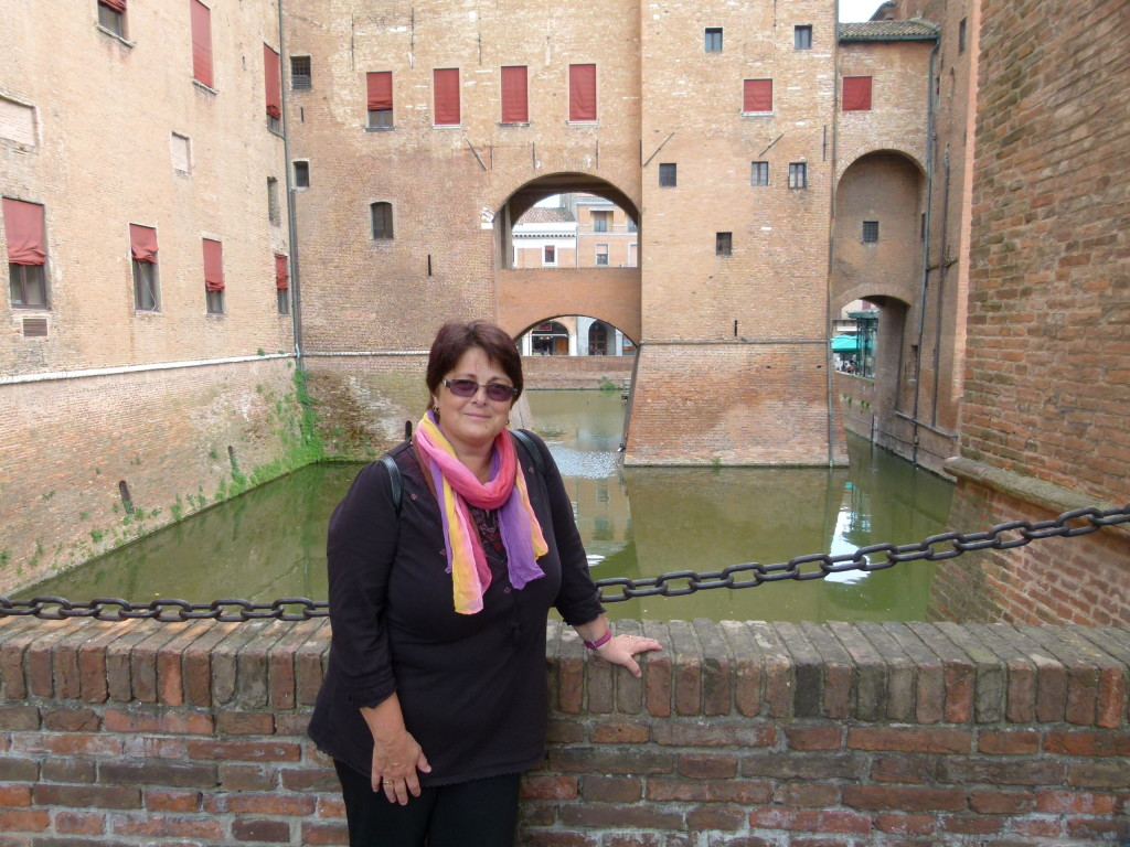 Jenny at the castle moat.