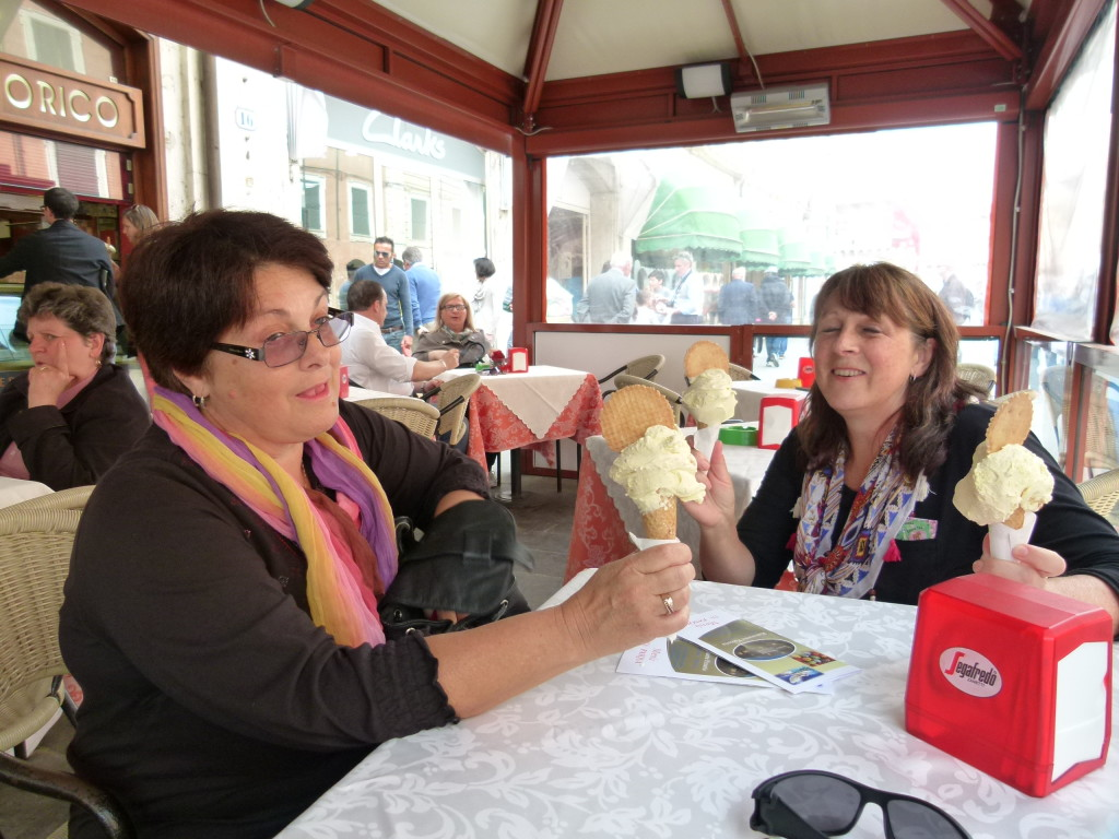 Jenny and Lori enjoying the Zabaglione flavored Gelato.