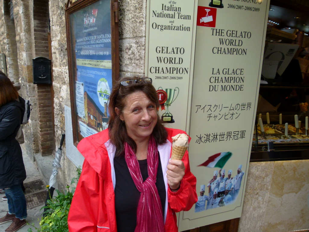 Lori eating a gelati from a world record shop.