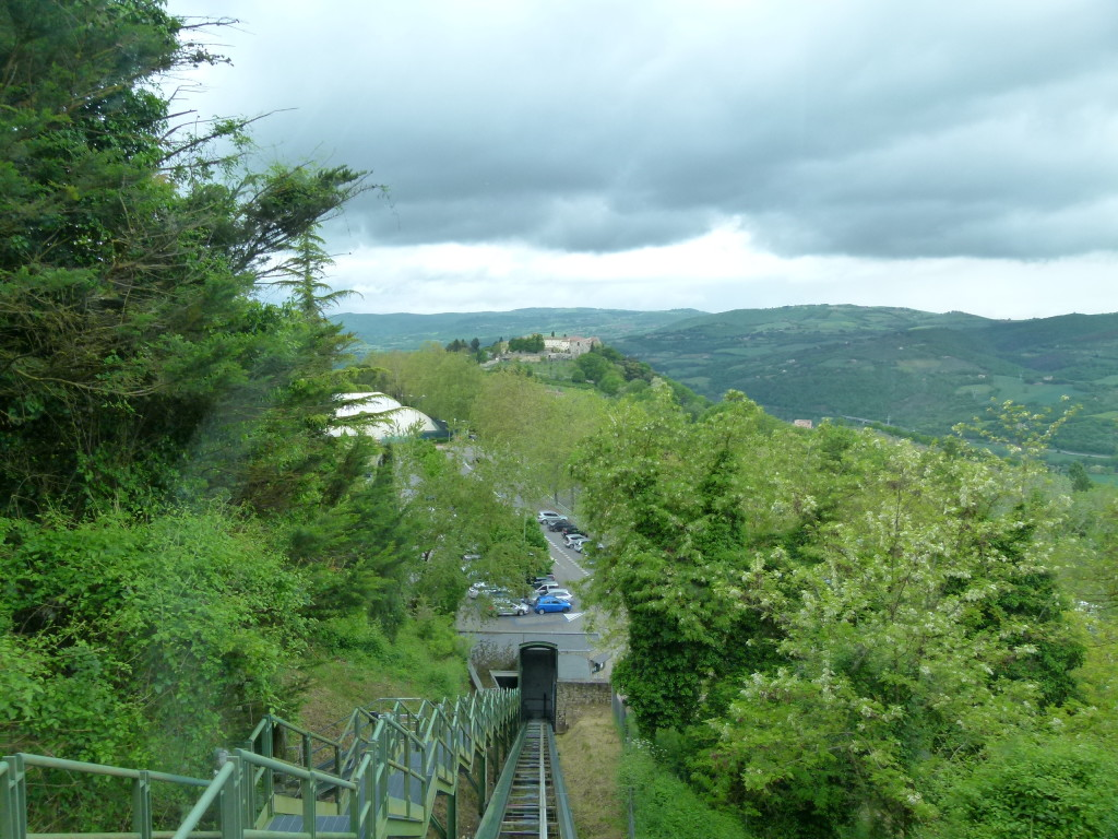 As we were going down the funicular in Todi.
