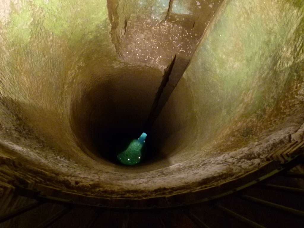 A view down into a well we visited. Interesting underground museum.