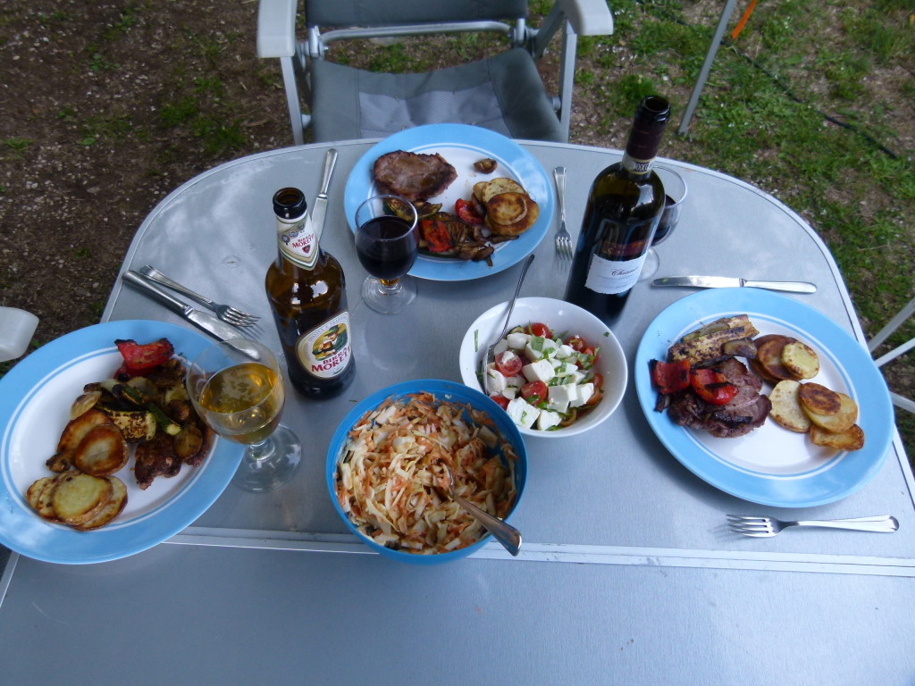 Chianti wine, Italian beer  and great food. Life is tough on the road.