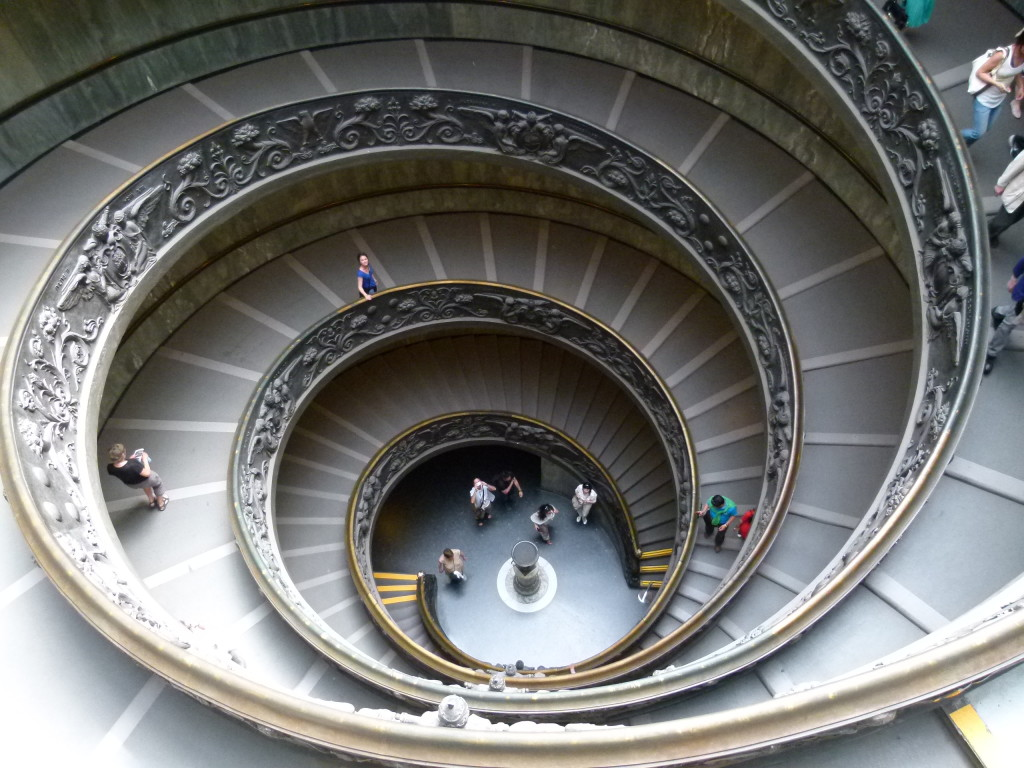 The spiral stairway down and out.
