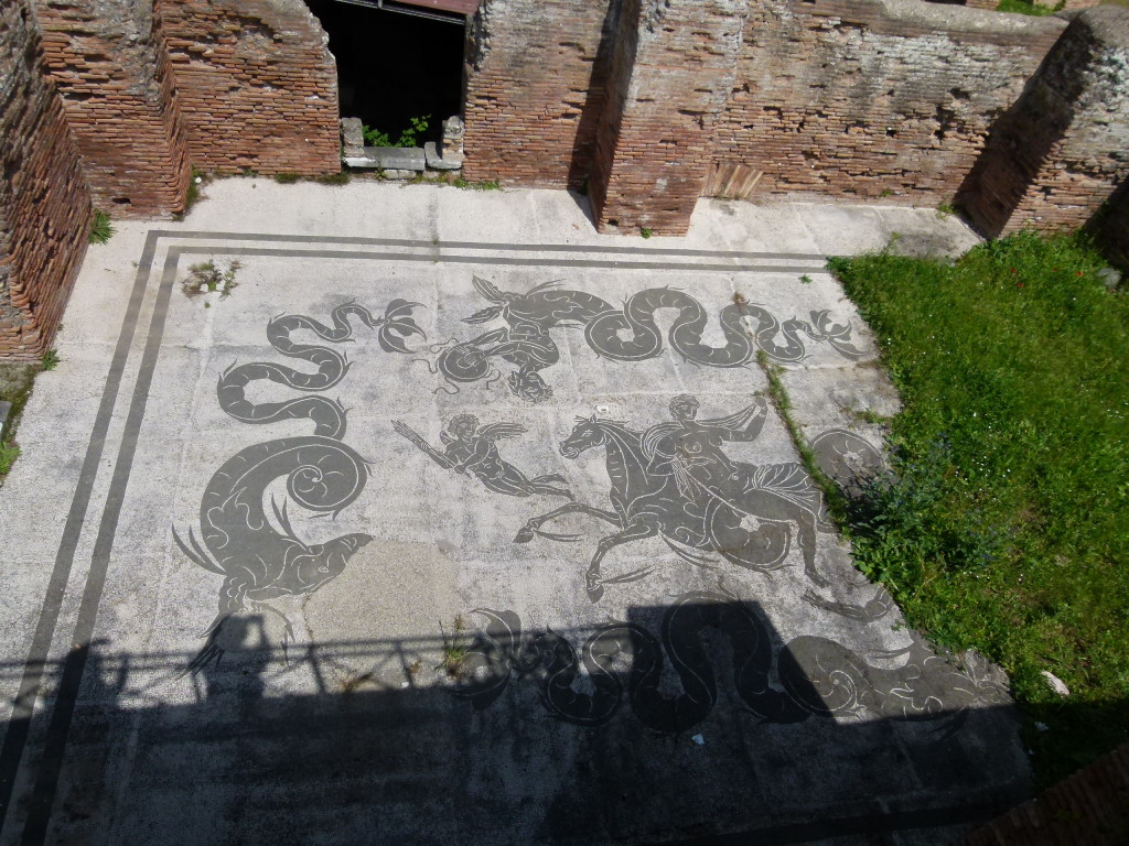 The mosaic floor at one of the baths.