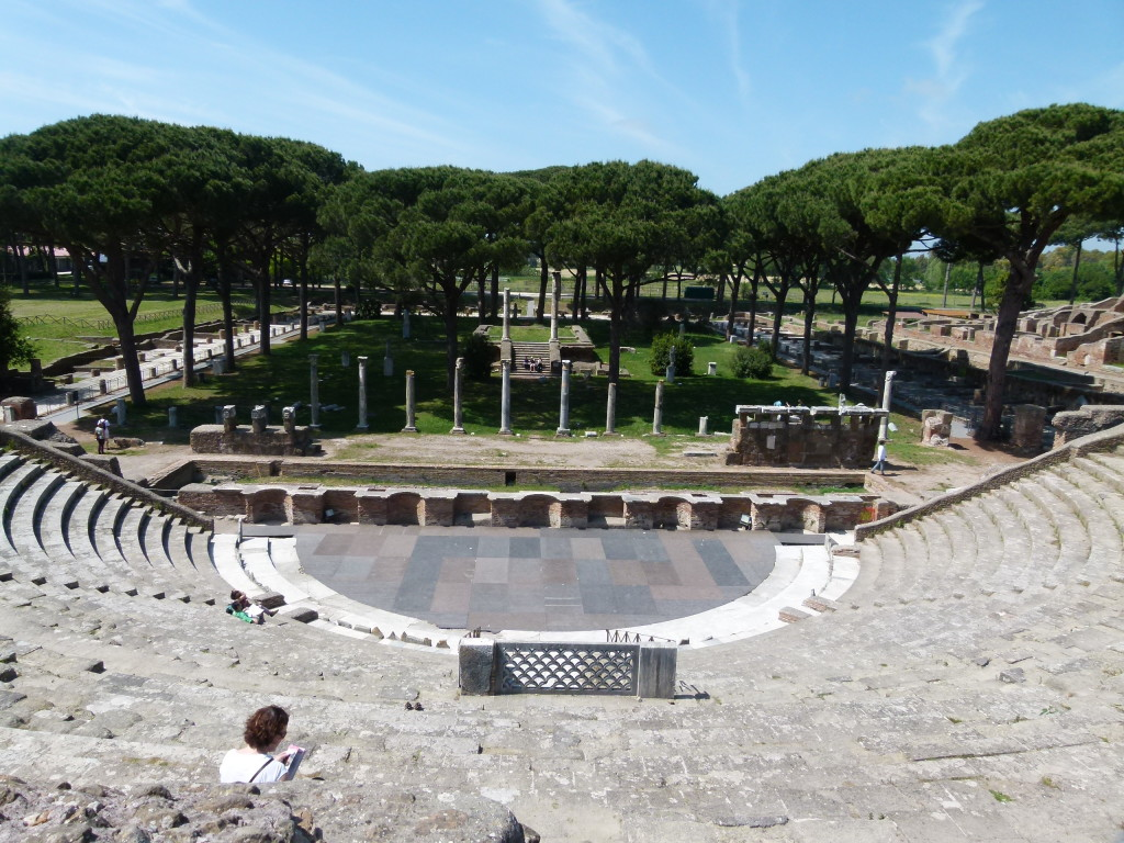 View from the top of the amphitheater to the plaza area.