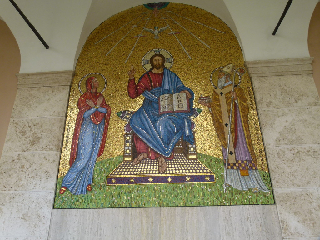 Mosaic on the wall near to the entrance.