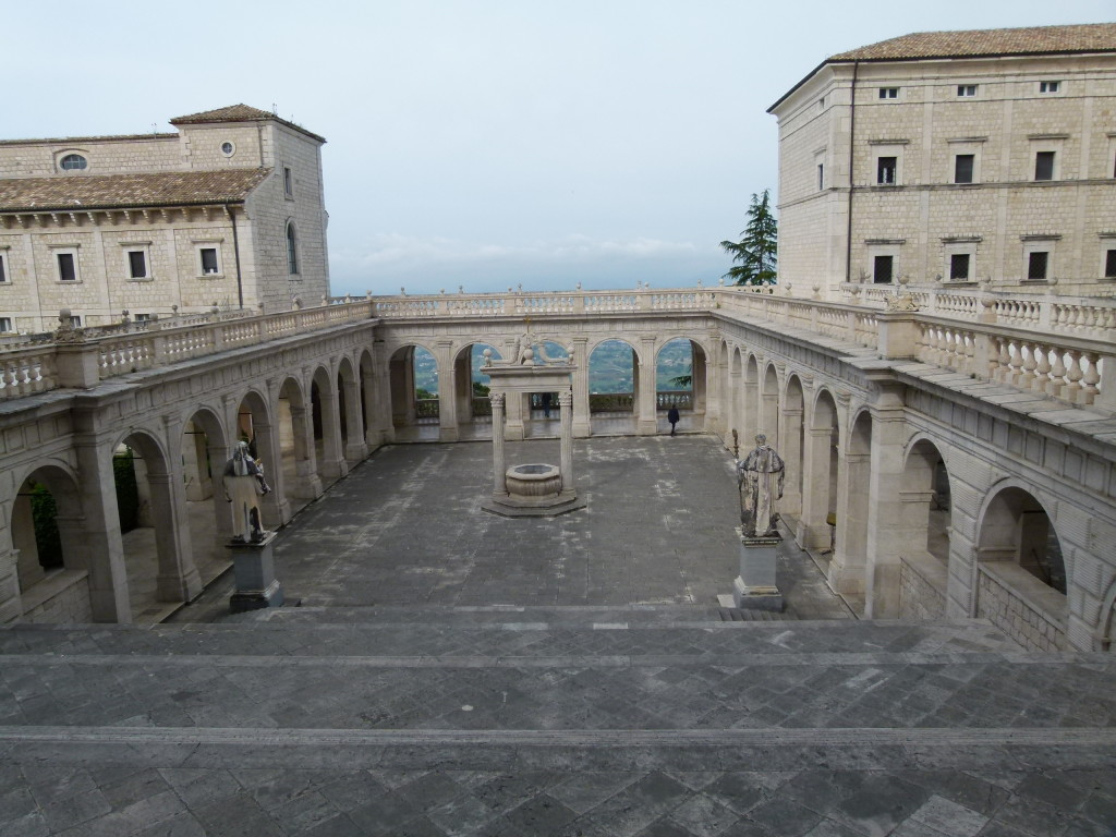 Montecassino. View from some steps onto the courtyard. The morning was not clear bu the you could see for miles