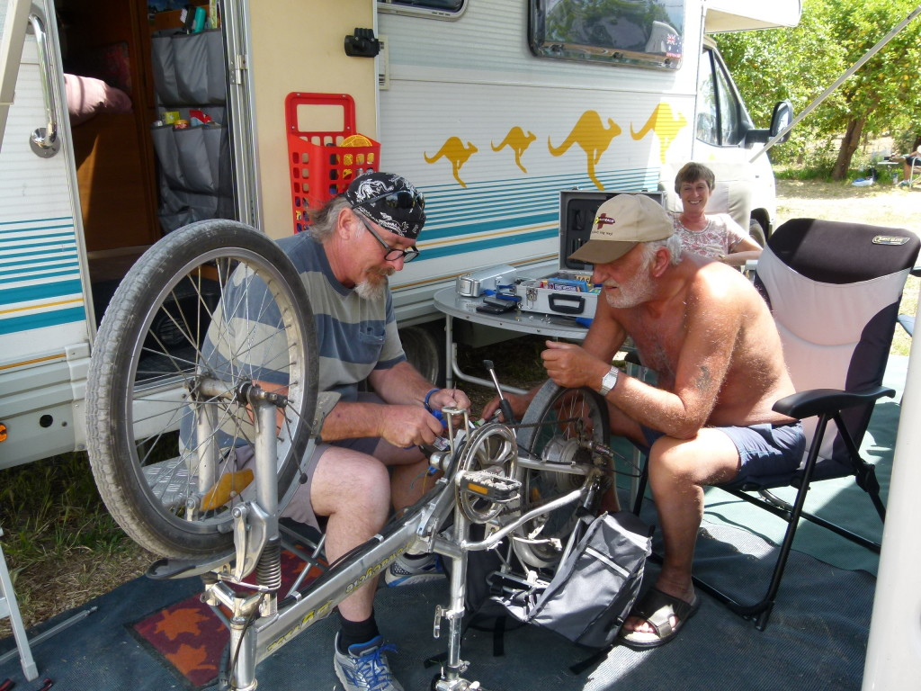 Ewout and Clyde doing some bike repairs.