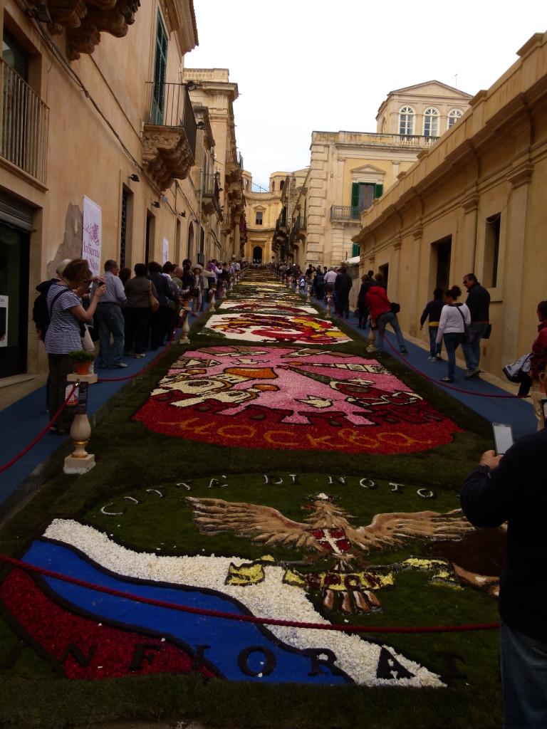 The main street in Noto where the flowers are displayed.