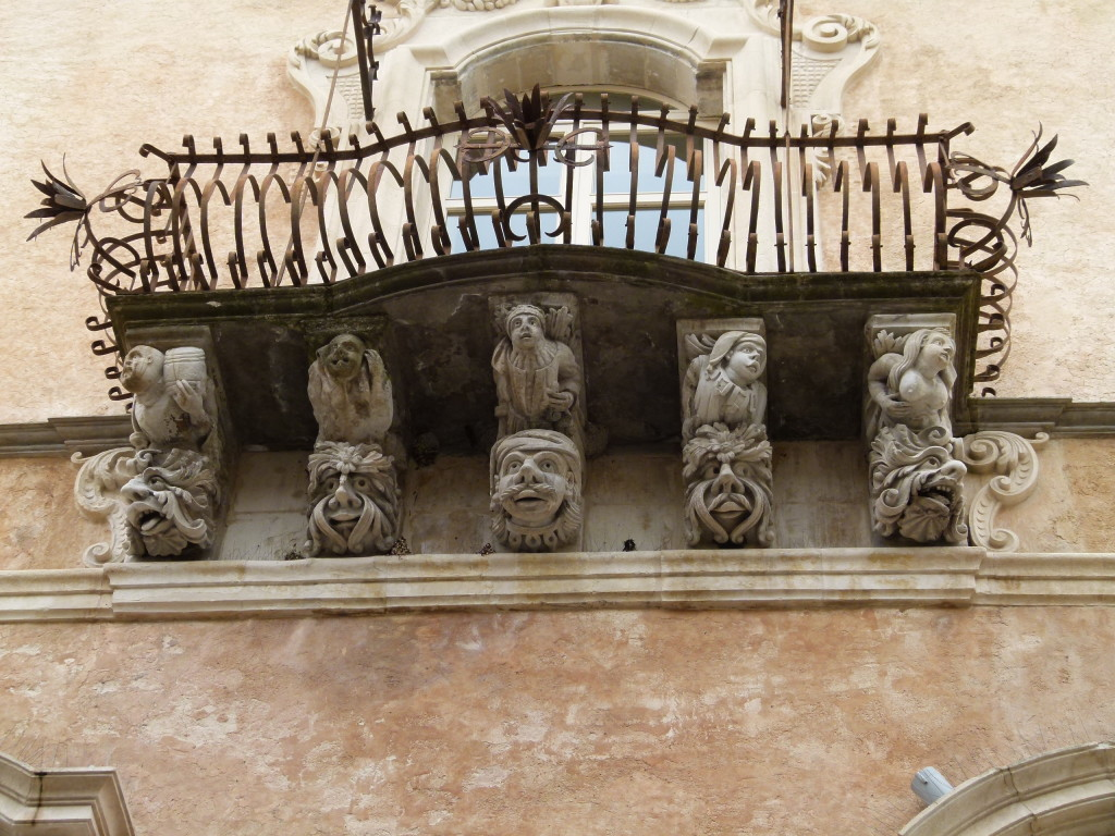 Along the bottom of many of the balconies in Ragusa they had some interesting statues. The lady on the right is a bit risque.