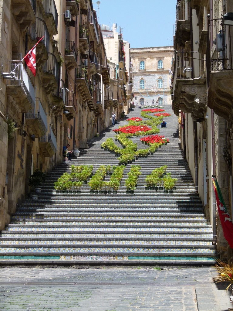 The tiled steps of Caltagirone. of course we had to walk to the top. It was a bit disappointing when we got there.