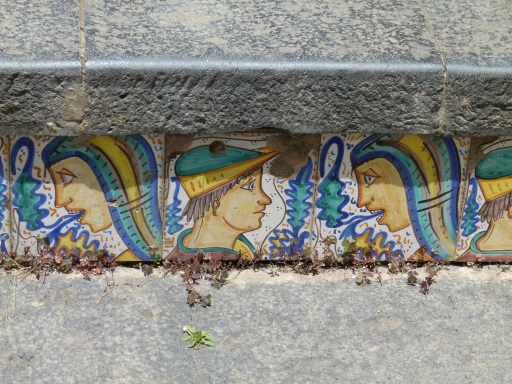 This is an example of the tiles that were on each step. These were in good condition as most of the others were in bad shape.