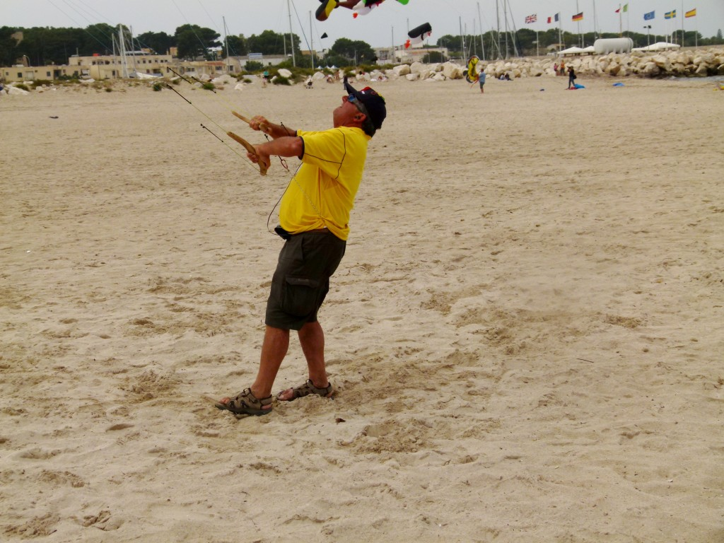 "The ""Kite Master"" able to operate 3 stunt kites at the same time."