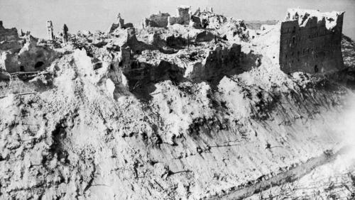 Aerial view after it was destroyed in World War 2. Obviously we didn't take this picture. Courtesy Google Images.