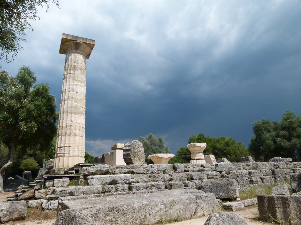 The skies looked threatening above the old temple of Zeus.