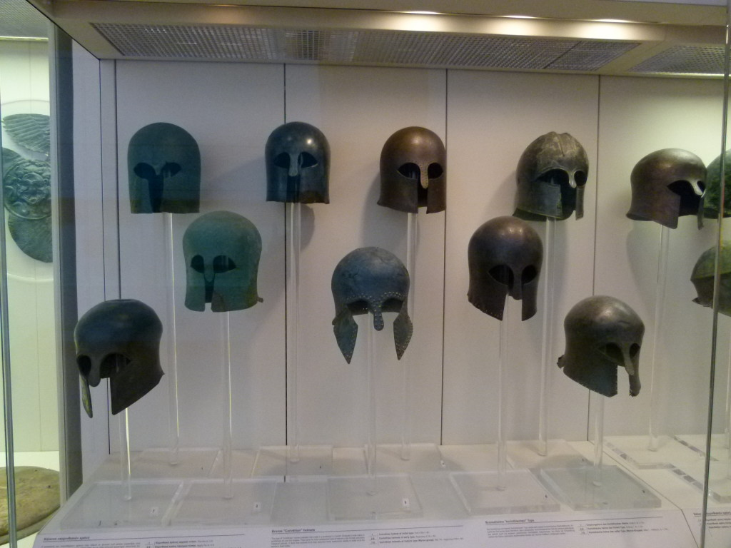 Masks that were discovered on the site in the museum.