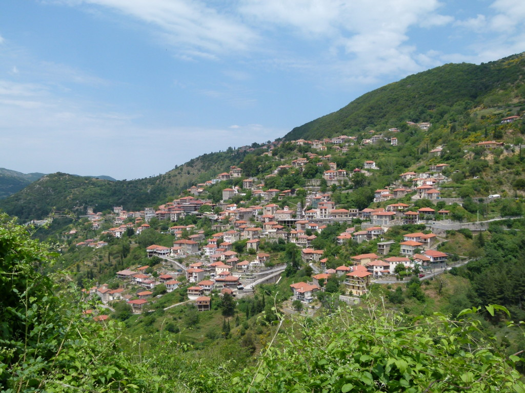 The view of the town from the other side of the valley.