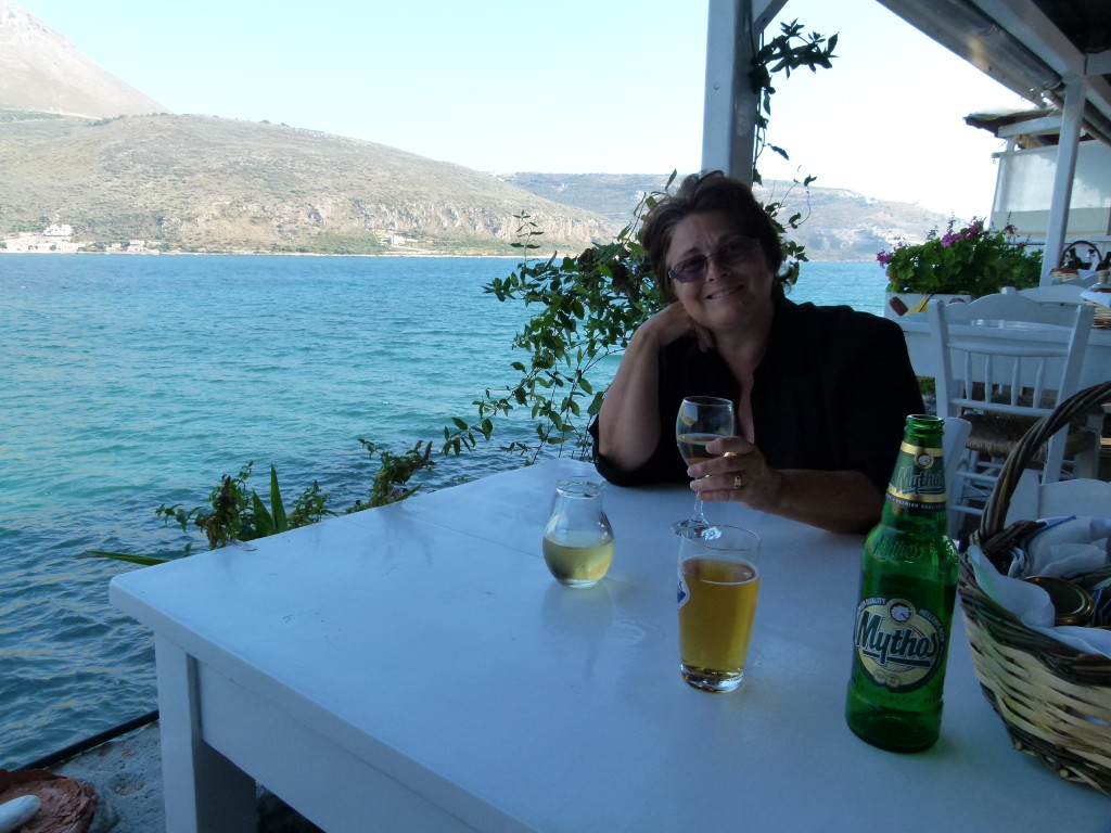 At the taverna with a great view of the bay.