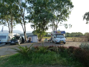 Our site at the campground near to the beach and under the gum trees.
