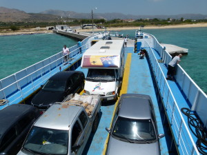 Not a very large ferry taking us to the island of Elafonisos