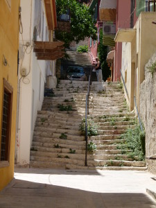 Not very straight stairs in the town of Nafplio.