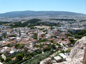 View of Athens from the top of the Acropolis.