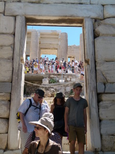 The constant moment of people on the Acropolis.