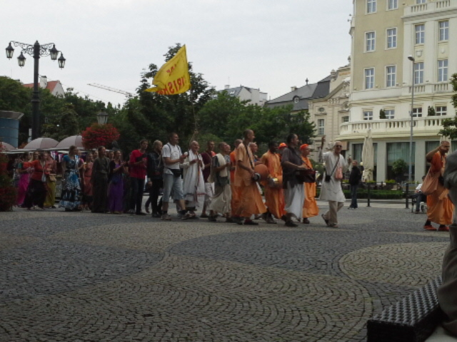The Hare Krishna's made a colorful parade through the mall.
