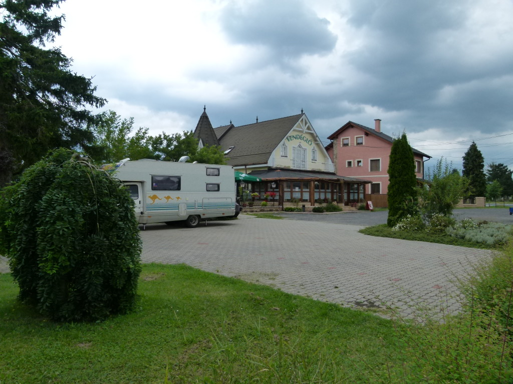 Here is a photo of a restaurant we stayed at over night in southern Hungary. The owner was very friendly and the meal was excellent. It cost 16Euros [$25 Australian]