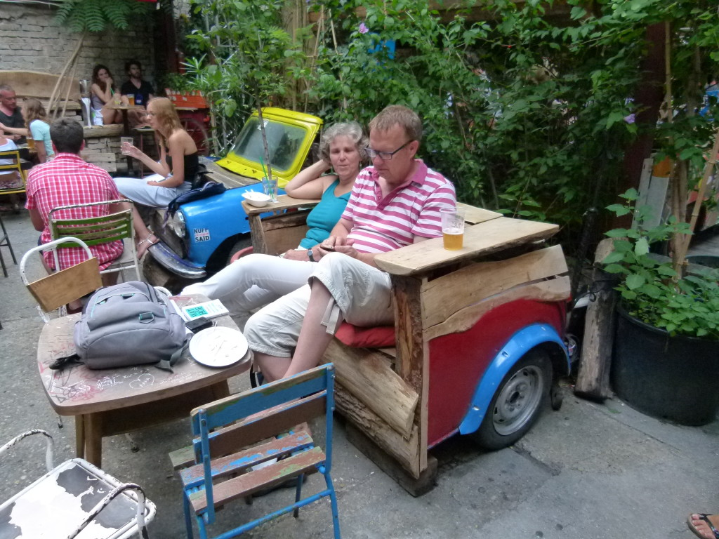 seat made from the back of a car. Szimpla Pub
