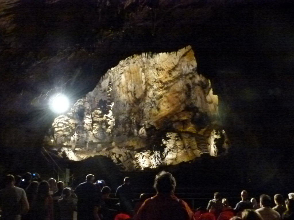 You can see the people giving and idea of the size cavern we were in . Here they have concerts and weddings.