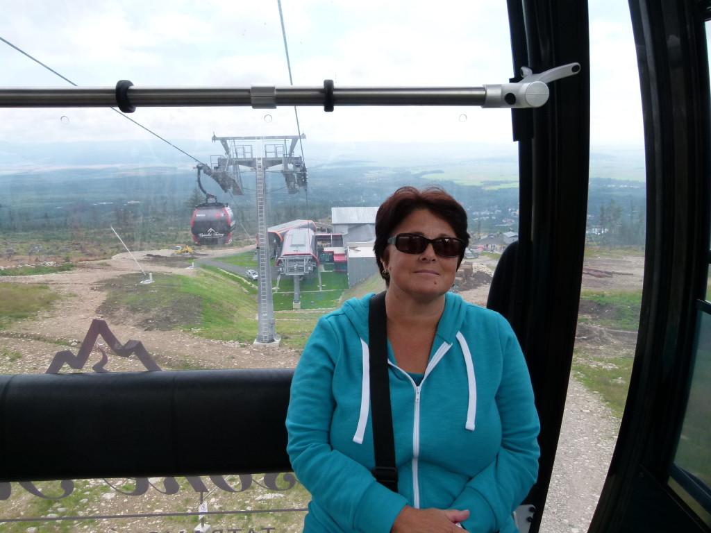 Riding the Gondola up the mountain.