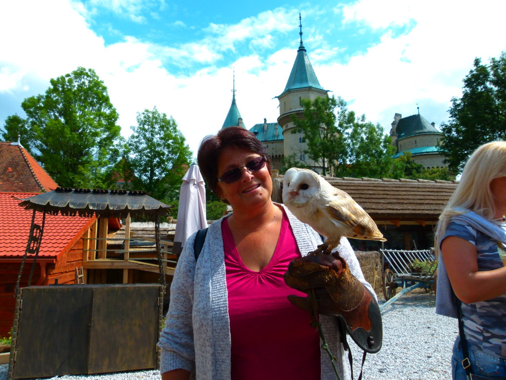 We asked the ma if we could take a photo with him and the barn owl. He asked if Jenny would like to hold it. Here is the result.